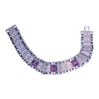1930s Revival Bracelet Purple Stones Bright Metal
