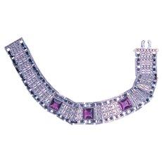 Art Deco Machine Age Bracelet Purple Stones Chromium Plate