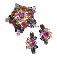 Estate 1950s Star Brooch Earrings