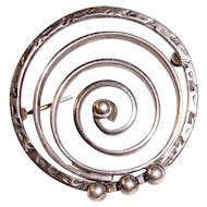 Modernist Sterling Silver Spiral Brooch
