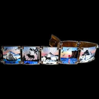 Ivar Holth Norway Sterling Silver Enamel Panel Bracelet Midnight Sun