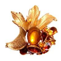 Signed ART Rhinestone Leaf Brooch Fall Colors