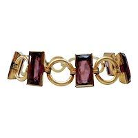 Art Deco Gold Filled Synthetic Amethyst Bracelet