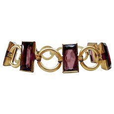 Art Deco Gold Filled Synthetic Amethyst Bracelet