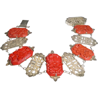 Antique Sterling Cinnabar Panel Bracelet Unique Design