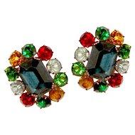 Czech Glass Earrings Blue Green Red Yellow Aqua