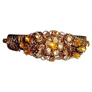 Art Nouveau Bangle Bracelet Yellow Topaz Paste Stones