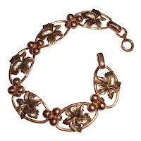 Antique Binder Brothers Gold Filled Bracelet Leaves Berries