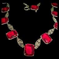 Art Deco Collar Necklace Red Czech Glass