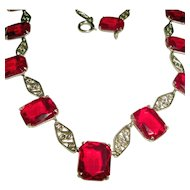 Art Deco Collar Necklace Red Czech Glass