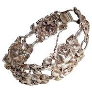 Art Nouveau Bracelet Sterling Silver Roses Flowers