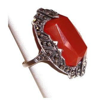 Art Deco Sterling Silver Ring Marcasites Orange Stone