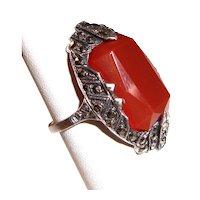 Sterling Silver Art Deco Ring Marcasites Orange Stone