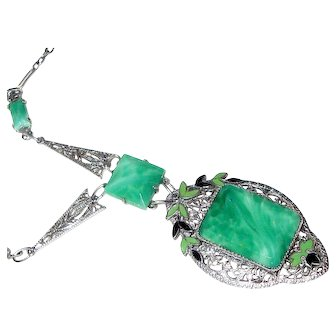 Art Deco Necklace Filigree Enamel Peking Glass