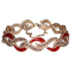 Art Deco Sterling Bracelet Marcasite Carnelian