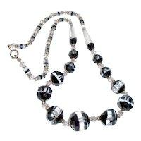Art Deco Flapper Necklace Black White Beads