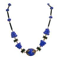 Art Deco Choker Cobalt Blue Glass Neiger