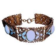 Art Deco Bracelet Turquoise Blue Stones Enamel
