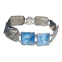 Art Deco Link Bracelet Geometric Filigree Blue Glass