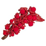French Art Deco Brooch Hand Wired Red Beads