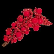 French Art Deco Brooch Lipstick Red Beaded Hand Wired
