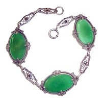 Art Deco Bracelet Chrysophase Sterling Silver Filigree