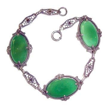 Art Deco Bracelet Chrysophase Sterling Silver Filigree
