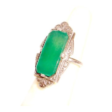 Art Deco Chrysophase Ring Sterling Silver