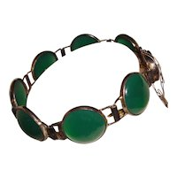 Rare Art Deco Sterling Bracelet Green Chrysophase Ovals