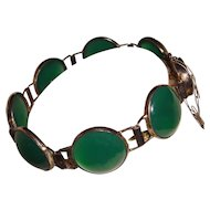 Art Deco Green Chrysoprase Panel Bracelet