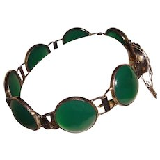 Art Deco Chrysoprase Bracelet Marked Silver