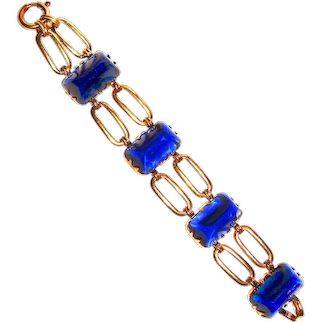 Chunky Art Deco Bracelet Big Cobalt Blue Cabochons