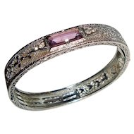 Art Deco Bracelet Rhodium Filigree Bangle Purple Center