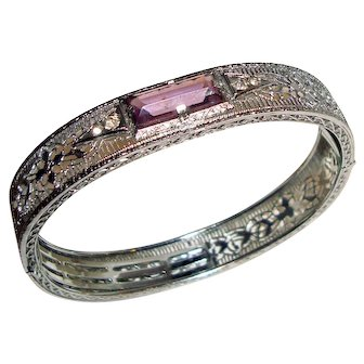Art Deco Filigree Bangle Bracelet Amethyst Paste Center