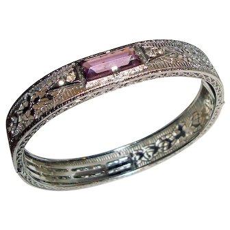 Art Deco Bracelet Rhodium Filigree Bangle Purple Center