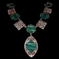 Art Deco Filigree Necklace Chrysoprase Glass Stones