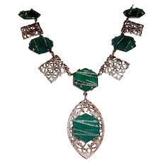 Art Deco Filigree Necklace Green Glass Stones Vintage Wedding