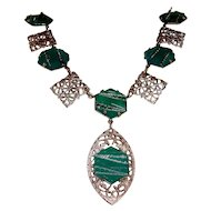 Art Deco Necklace Silver Filigree Green Stones Wedding