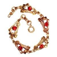 Art Deco Harry Iskin Bracelet Red Stones