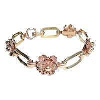 Krementz Art Deco Bracelet 14K Rose Yellow Gold Overlay  Roses