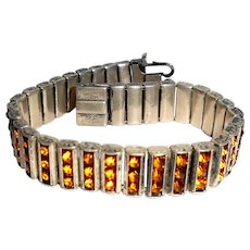 Leach & Miller Art Deco Sterling Silver Three Row Crystal Bracelet