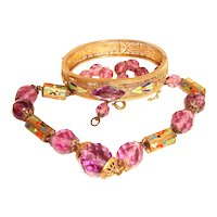 Art Deco Enamel Filigree Bangle and Crystal Necklace Set Neiger