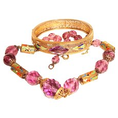 Art Deco Enamel Filigree Bangle and Crystal Necklace Set Neiger