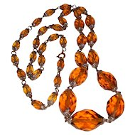 1920s Amber Czech Glass Necklace 30 inches Long