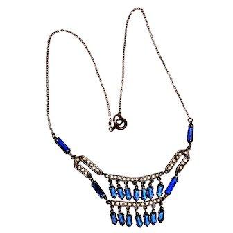 Art Deco Festoon Necklace Sapphire Blue Wedding