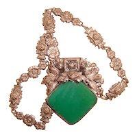 Art Deco Necklace Fancy Links Green Czech Glass Center