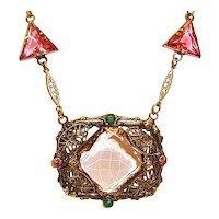 Art Deco Necklace Pink Czech Glass Filigree Center
