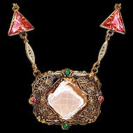 Art Deco Necklace Filigree Center Pink Czech Glass