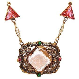 Pink Art Deco Necklace Wedding