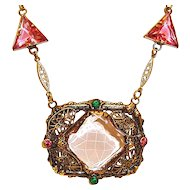 Pink Czech Art Deco Necklace